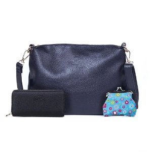 Bolsa Transversal Feminina Fofs Azul Marinho + Carteira e Porta Moedas Feminina