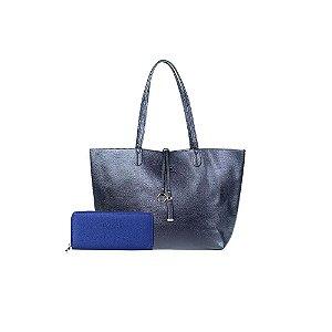 Bolsa Sacola Shopper Azul Marinho + Carteira Básica Azul