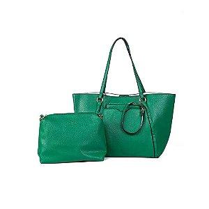 Bolsa Sacola com Carteira Feminina Verde com Branco