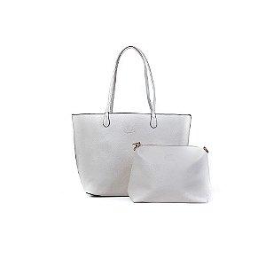 Bolsa Sacola Feminina Shopper Creme com Branco