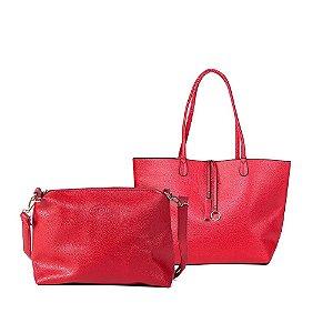 Bolsa Feminina Sacola Shopper Vermelha com Branco