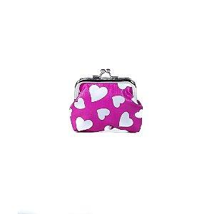 Porta Moedas Oumai Básica Pink com Estampa Coração