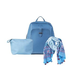 Mochila Carteiro Azul + Necessaire Azul + Echarpe Azul Claro