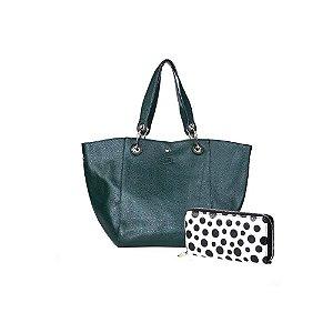 Kit Oumai Bolsa de Mão Feminina Premium Verde Escuro + Carteira Poás Branca