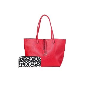 Bolsa Sacola Shopper Vermelha + Carteira Básica Poás Preto