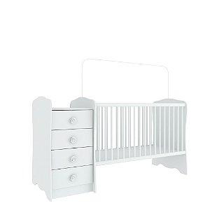 Berço Cômoda Baby Estrela (Colchão 60x130) - Branco