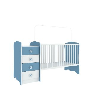 Berço Cômoda Baby Estrela (Colchão 60x130) - Azul