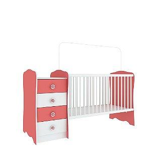 Berço Cômoda Baby Estrela (Colchão 60x130) - Rosa