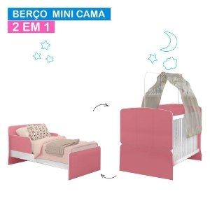 Berço Mini Cama 700 - Branco/Rosa