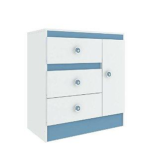 Cômoda Baby Estrela 1 Porta 3 Gavetas - Azul