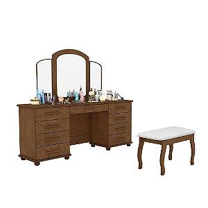 Penteadeira Berlim 9 Gavetas com Espelho e Banqueta - Castanho Wood