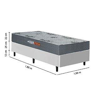 Conjunto Box com Colchão de Solteiro Ortopédico 88x188x59 - Branco