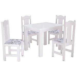 Conjunto de Mesa Com 4 Cadeiras Stilo - Branco
