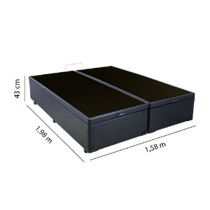 Base Cama Box Baú Queen 158x198x43 - Preto