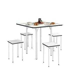 Mesa Dobrável com 4 banquetas – Branca/Preto