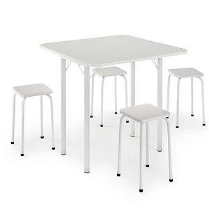 Mesa Dobrável com 4 banquetas – Branca