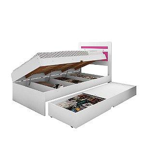 Cama Baú Larissa mais Baú F11 Space – Branco/Pink