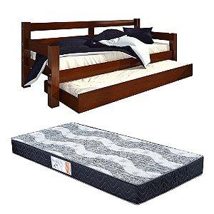 Bicama Solteiro Confort Castanho Com 2 Colchões Pro Life D28 - 88x188x14