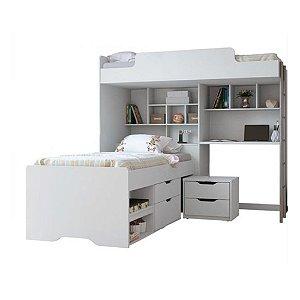 Beliche Office Teen New com Gavetas e Criado Mudo - Branco