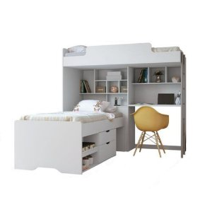 Beliche Office Teen New com Gavetas e Prateleiras - Branco
