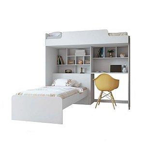 Beliche Office Teen New com Báu e Escrivaninha - Branco