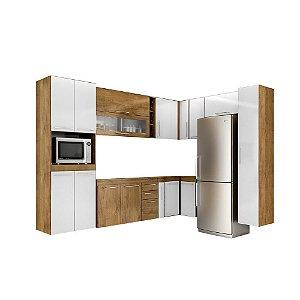 Armário de Cozinha Modulada Jaspe 12 peças - Branco/Castanho