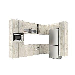 Armário de Cozinha Modulada Jaspe 12 peças - Nevado
