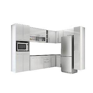 Armário de Cozinha Modulada Jaspe 12 peças - Branco