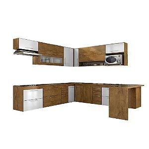 Armário de Cozinha Modulada Platina 14 peças - Castanho/Branco