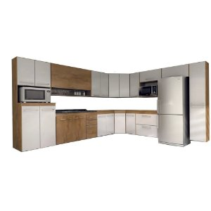 Cozinha Modulado Ônix 15 peças – Castanho/Branco