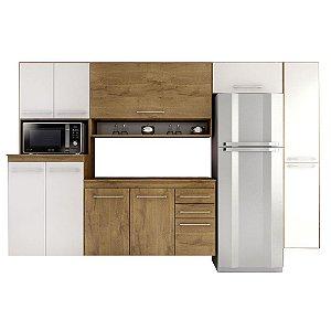 Cozinha Completa Rebeca Coral 5 peças – Castanho/Branco