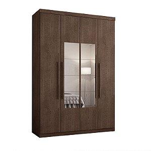 Roupeiro F108 Gold 4 Portas Com Espelho - Chocolate