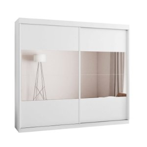 Roupeiro F108 Gold 2 Portas Deslizantes Com Espelho - Branco