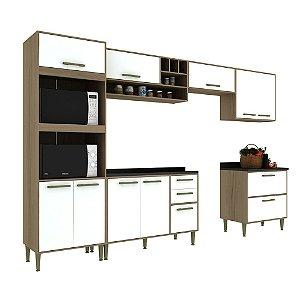 Armário de Cozinha Modulada Vitória CV001E - Avelã TX/Branco