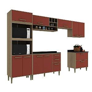 Armário de Cozinha Modulada Vitória CV001E - Avelã TX/Rubi