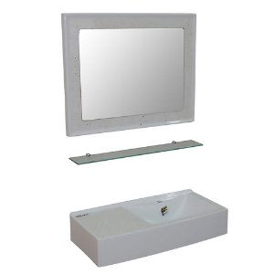 Kit Isocril com Espelheira, Aparador e Lavatório Caribe - Branco