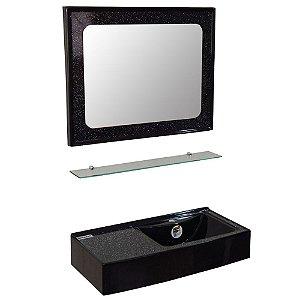 Kit Isocril com Espelheira, Aparador e Lavatório Caribe - Preto
