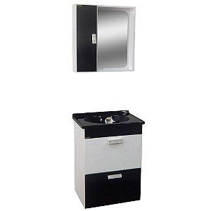 Gabinete para Banheiro com Espelho Londres - Branco/Preto