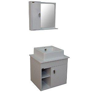 Gabinete para Banheiro com Espelho Modena - Branco