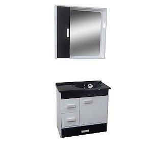 Gabinete para Banheiro com Espelho Porto - Branco/Preto