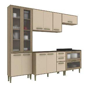 Armário de Cozinha Modulada Vitória CV006E - Avelã TX/Capuccino