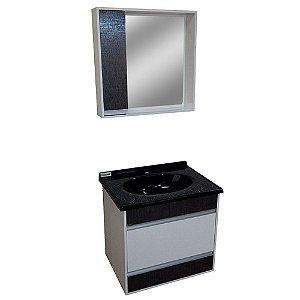 Gabinete para Banheiro com Espelho Moscou - Cromo