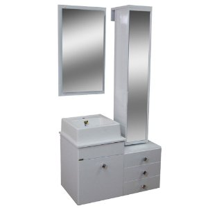 Gabinete para Banheiro com Torre e Espelho Giratório Évora - Branco