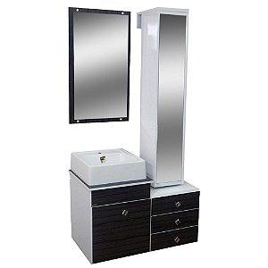 Gabinete para Banheiro com Torre e Espelho Giratório Évora - Castanho