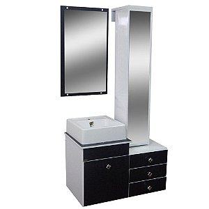 Gabinete para Banheiro com Torre e Espelho Giratório Évora - Cromo