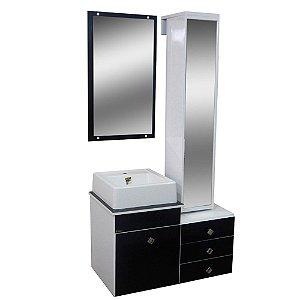 Gabinete para Banheiro com Torre e Espelho Giratório Évora - Branco/Preto