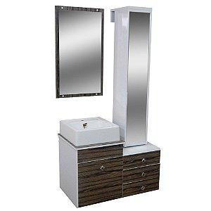 Gabinete para Banheiro com Torre e Espelho Giratório Évora - Vintage