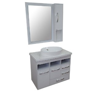 Gabinete para Banheiro com Armário e Espelho Berlim - Branco