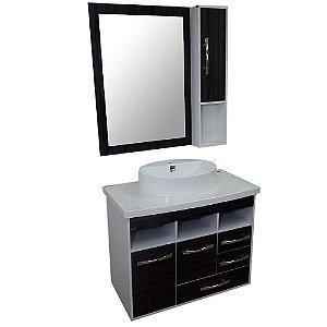 Gabinete para Banheiro com Armário e Espelho Berlim - Castanho