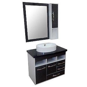 Gabinete para Banheiro com Armário e Espelho Berlim - Cromo
